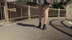 Closeup Of Young Woman Walking Down Ramp, Slow Motion Stock Footage