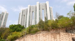 High-rise house based on forestry mountain side, panning shot Stock Footage