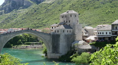 The Stari Most (Old Bridge) Mostar Bosnia and Herzegovina Stock Footage