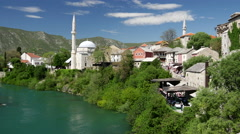 View from The Stari Most (Old Bridge) Mostar Bosnia and Herzegovina Stock Footage
