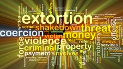 Extortion background concept glowing Stock Illustration