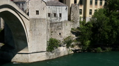 Pan from the Stari Most (Old Bridge) Mostar Stock Footage