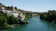 View from The Stari Most (Old Bridge) Mostar at the Neretva river Stock Footage
