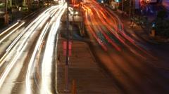 Light trail of cars near Las Vegas Strip Stock Footage