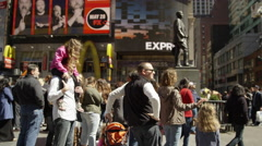 Times Square Midtown Asian father walking son people New Yorkers Tourists 4K NYC Stock Footage