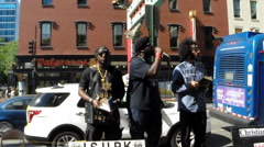 News footage of Black Israelites preaching in public Stock Footage