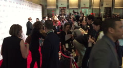 Journalists wait at the red carpet Stock Footage