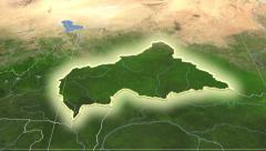 Central African Republic outlined and glowed. Neighbourhood. Satellite Stock Footage