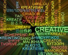 Creative multilanguage wordcloud background concept glowing Stock Illustration