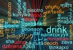 Drink multilanguage wordcloud background concept glowing - stock illustration