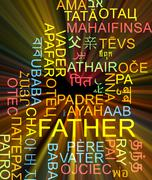 Stock Illustration of Father multilanguage wordcloud background concept glowing