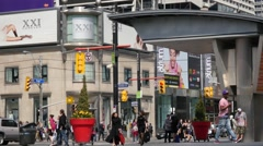 People Walking on Streets of Downtown Toronto (Dundas St. / Yonge St.) Stock Footage