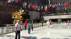 Ice Skating Rockefeller Center Stock Footage