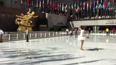 Ice Skating Fun at The Rockefeller Center Stock Footage