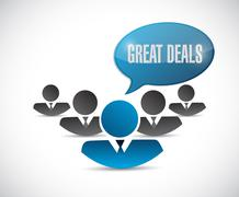 Stock Illustration of great deals people sign concept