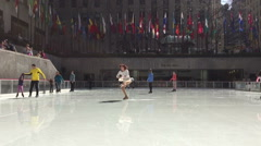 Ice Skating Dancer At The Rockefeller Center Stock Footage