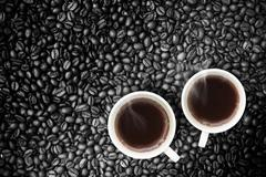 Coffee With Coffeebeans - stock photo