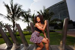 Fashion model in Miami Beach - stock photo