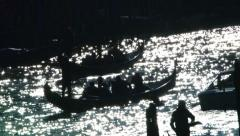 Gondola and motorboats in Venice Stock Footage