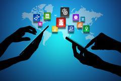 Laptop  and Smart Phone around World Globe - stock illustration