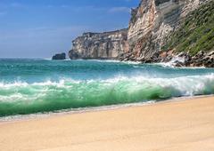 Portugal, Costa do Prado . The magnificent sandy beach of the Atlantic Ocean . Stock Photos