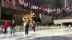 Ice skating on a sunny day Stock Footage