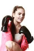 Fit woman boxing isolated on white. Stock Photos