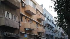 Balconies and buildings in south Tel-Aviv, Israel Stock Footage