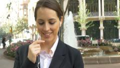 Attractive business woman talking mobile phone busy city smartphone steadycam 4k Stock Footage