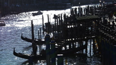 Berthage on Grand Canal of Venice at sunset Stock Footage