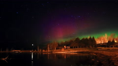 Northern Light Time Lapse and Stars in Night Sky Stock Footage