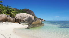 Anse source d'argent beach on seychelles Stock Footage
