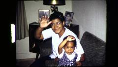 Black MOTHER DAUGHTER Waving Hello African American Vintage Film Home Movie 8310 Arkistovideo