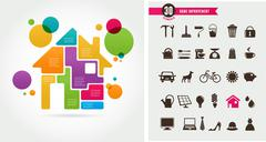 Home - infographics and icon set - stock illustration