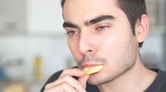 4K Eating Potato Chips Stock Footage