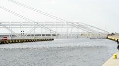 Swing bridge of the port of Ustka, Poland Stock Footage
