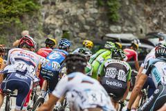 The Peloton on Alpe D'Huez - Tour de France 2013 - stock photo