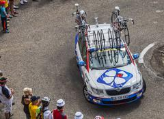 Lotto Belisol Team Technical Car in Pyrenees Mountains - Tour de France 2013 - stock photo