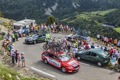 Technical cars in Pyrenees Mountains Tour de France 2013 - stock photo