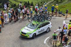 Belkin Team Technical Car in Pyrenees Mountains - Tour de France 2013 - stock photo