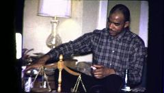 Black Man Drinks Alcohol African American 1970s Vintage Film Home Movie 8319 Stock Footage
