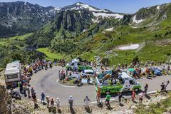 Publicity Caravan in Pyrenees Mountains - Tour de France 2013 - stock photo