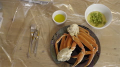 Snow Crab for dinner. 4K UHD. Stock Footage