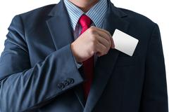 Part of body of business man who takes out business card from the pocket Stock Photos