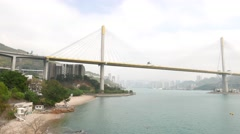 Panning shot, two huge bridges connecting to Tsing Yi island Stock Footage