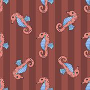 Stock Illustration of Seahorse seamless vector illustration