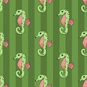 Seahorse seamless vector illustration Stock Illustration