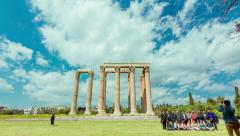 Athens Greece Temple of Zeus Ancient Olympeion timelapse Stock Footage