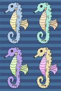 Seahorse cartoon vector illustration set - stock illustration