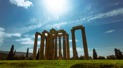Olympeion, Greek temple of Zeus timelapse sunny bright day wide view - stock footage